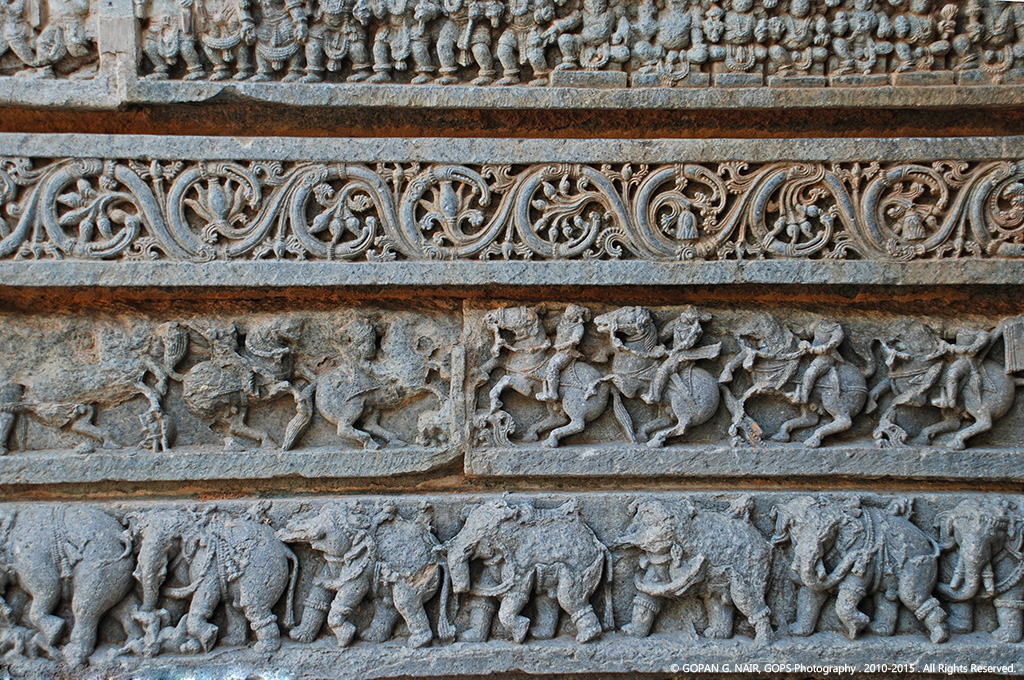 INTRICATE CARVINGS ON THE WALLS OF SOMANATHPURA TEMPLE, KARNATAKA