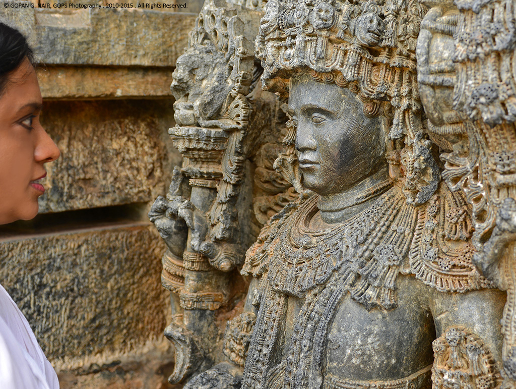 Face to face with history. Life-like statue of Dwarapalaka at Hoysaleshwara Temple, Halebidu