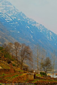 MANA VILLAGE WITH THE BACKDROP OF SNOW COVERED HIMALAYAN PEAKS