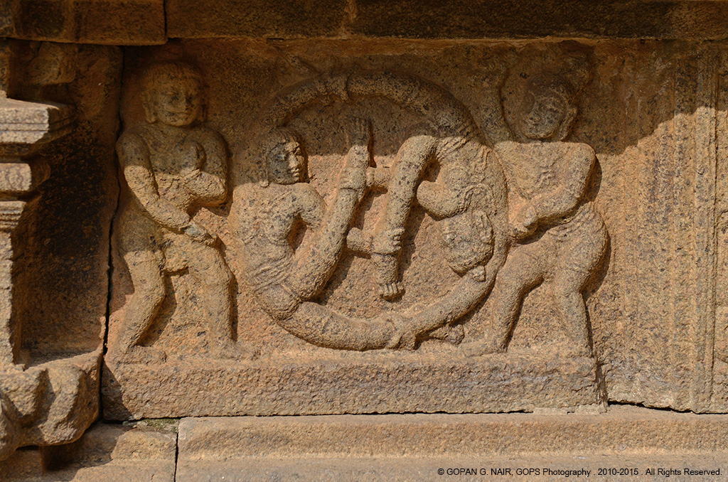 CARVING OF GYMNASTS ON THE SIDE WALLS OF AIRAVATESVARA TEMPLE AT DARASURAM