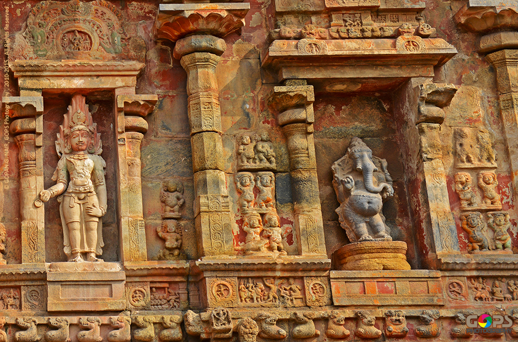 INTRICATE CARVINGS & MURAL PAINTINGS ON THE SIDE WALLS OF AIRAVATESVARA TEMPLE AT DARASURAM