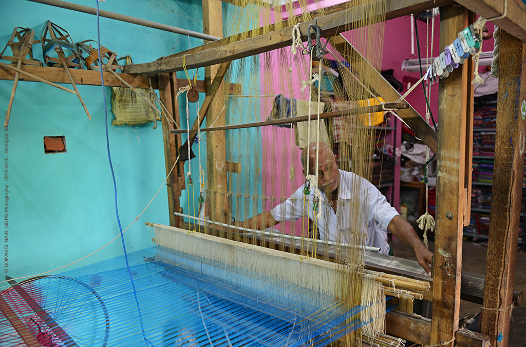 HAND WEAVING OF SILK FABRICS NEAR AIRAVATESVARA TEMPLE AT DARASURAM