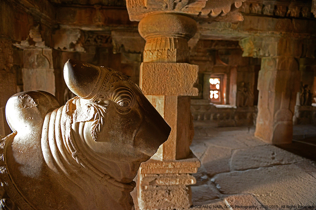 PATTADAKAL. AN EXQUISITE CARVING OF NANDI THE BULL. PARTLY DAMAGED.