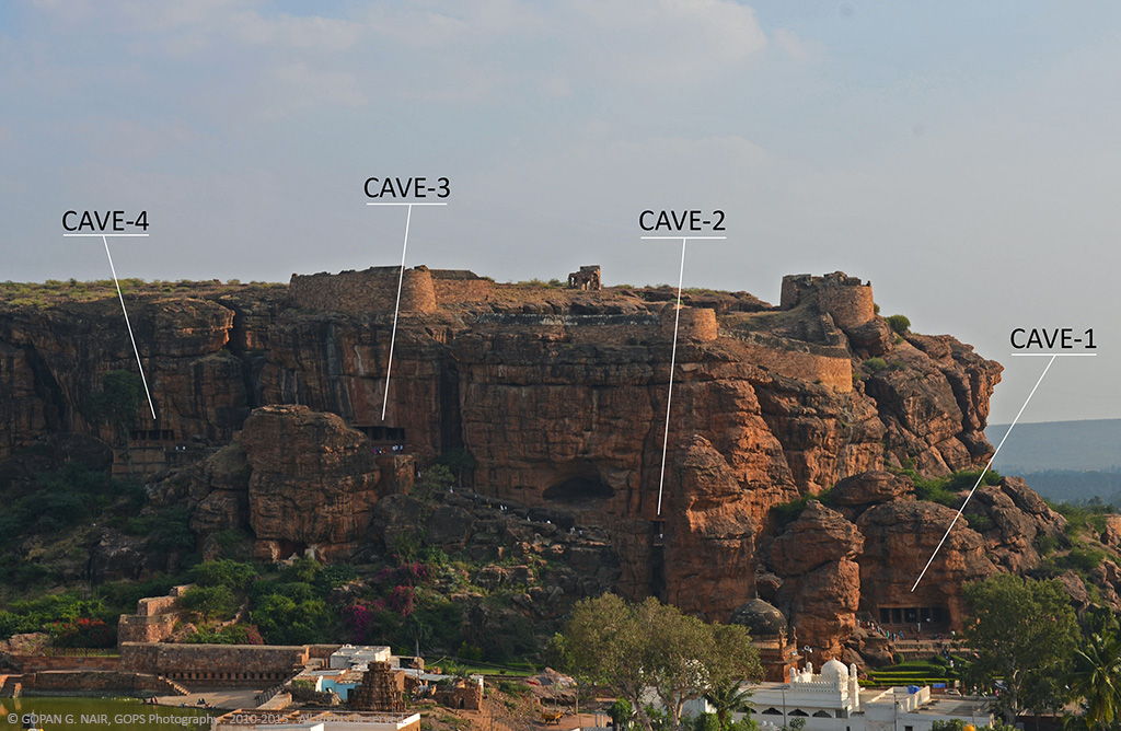 PANORAMIC VIEW OF BADAMI ROCK-CUT CAVE TEMPLES