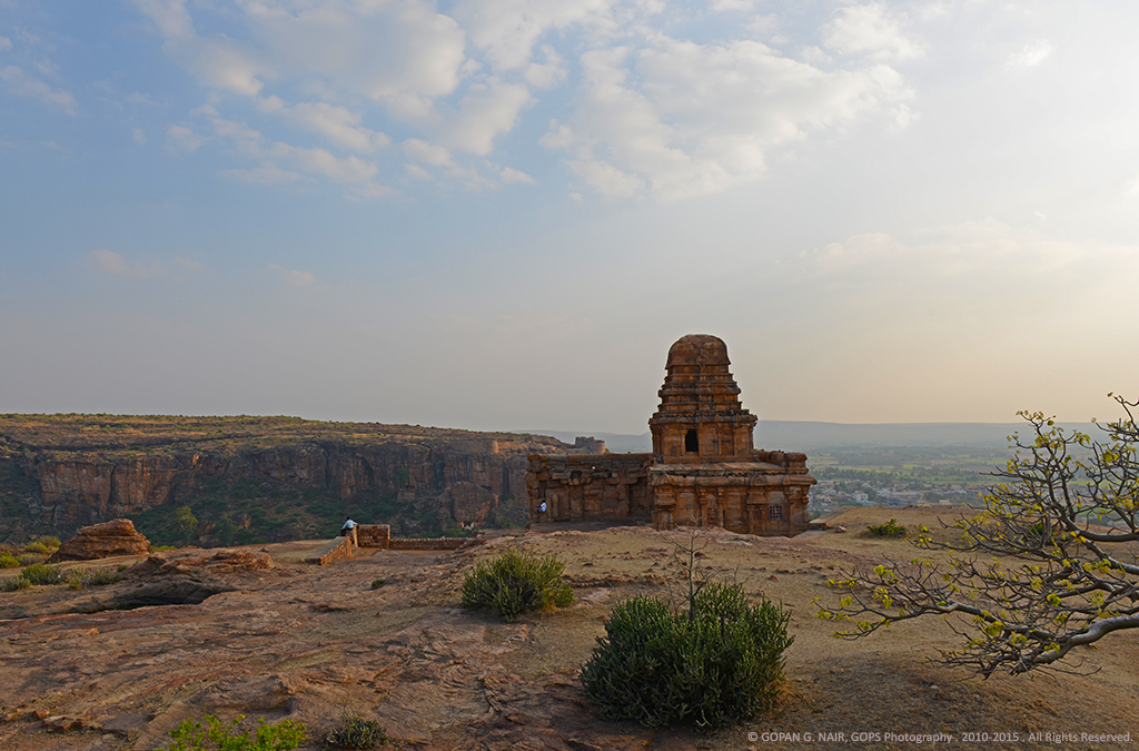 MALEGITTI SHIVALAYA WITH BADAMI CAVES IN THE BACKDROP