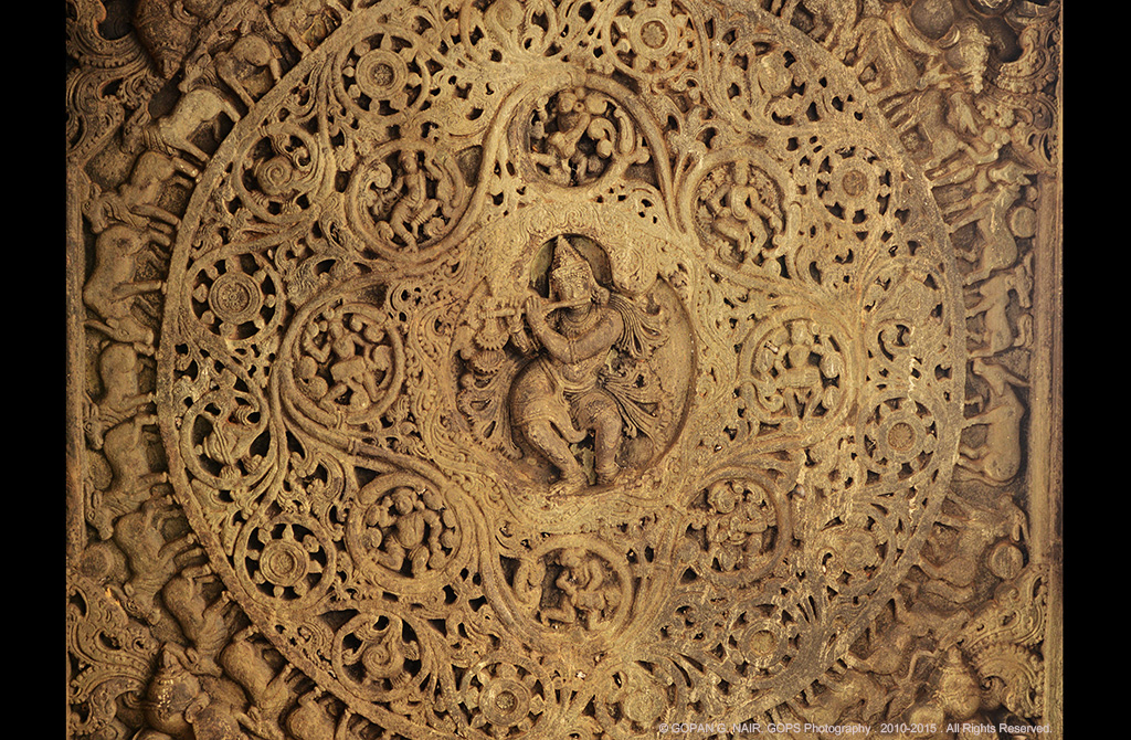 EXQUISITELY CARVED CEILING OF VEERA NARAYANA TEMPLE, BELAVADI