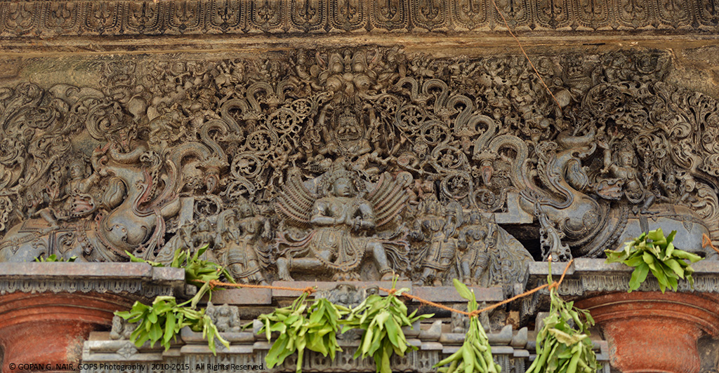THE CARVING OF GARUDA, OVER THE MAIN ENTRANCE OF CHENNAKESAVA TEMPLE