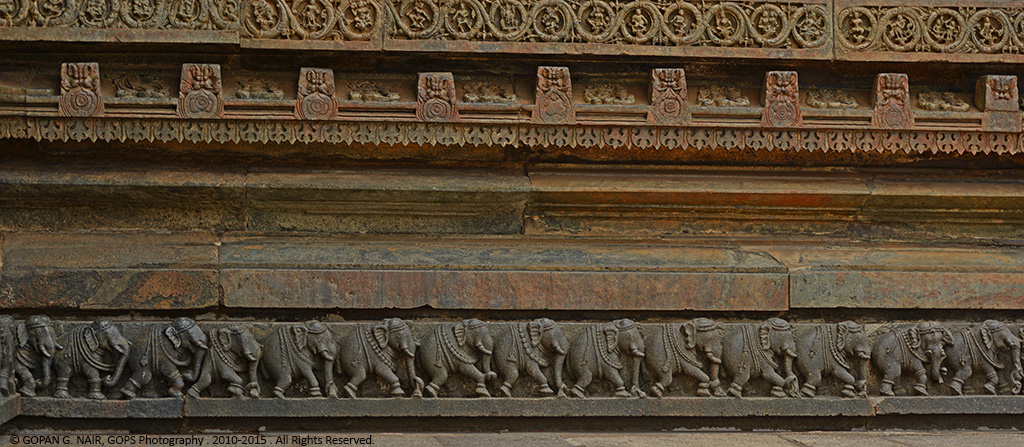 FRIEZES OF CHARGING ELEPHANTS (A TOTAL OF 650 ELEPHANTS) AT THE BOTTOM LAYER OF THE WALL SYMBOLIZING STABILITY & STRENGTH
