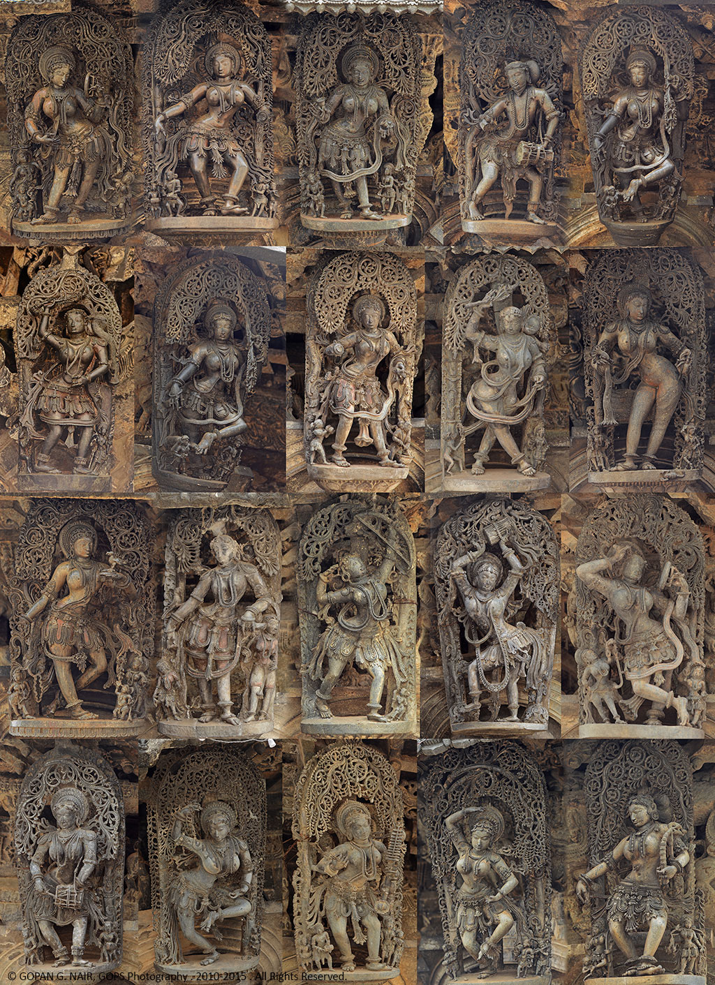 A COLLECTION OF SEVERAL MADANIKA STATUES AT CHENNAKESAVA TEMPLE