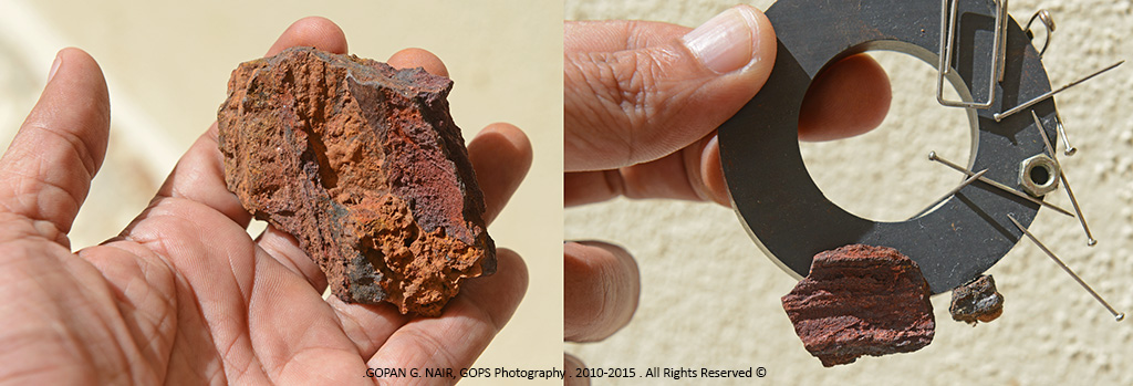 ROCKS CONTAINING IRON ORE STICK TO A MAGNET