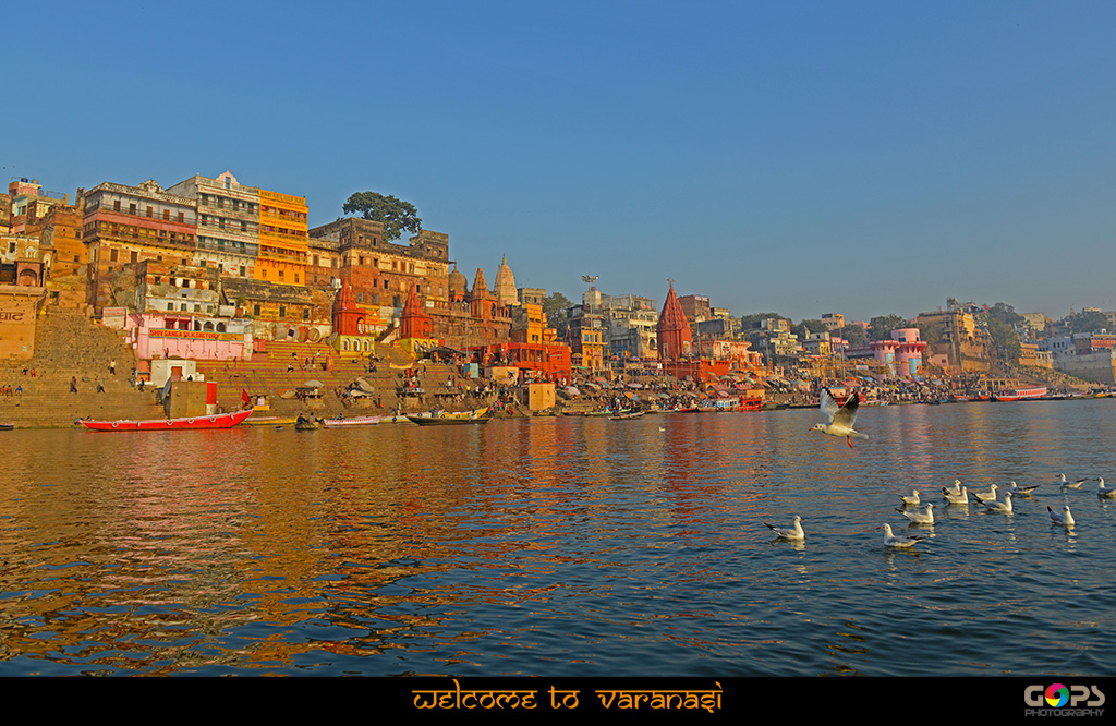 VARANASI GHATS BRIGHTLY LIT BY THE MORNING RAYS
