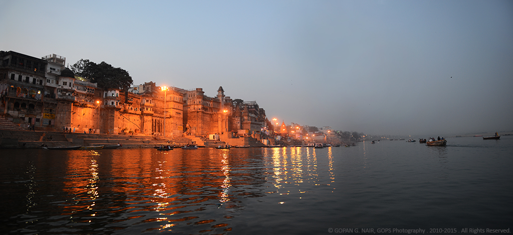 ILLUMINATED VARANASI GHATS AFTER DARK