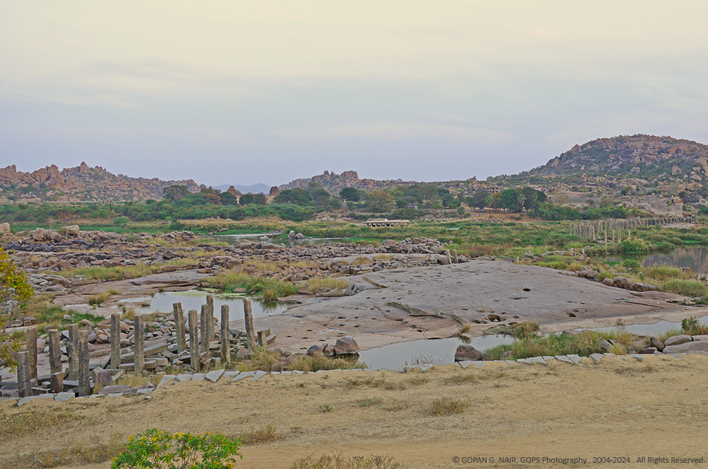 REMAINS OF ANCIENT STONE BRIDGE THAT CONNECTED HAMPI AND ANEGUNDI