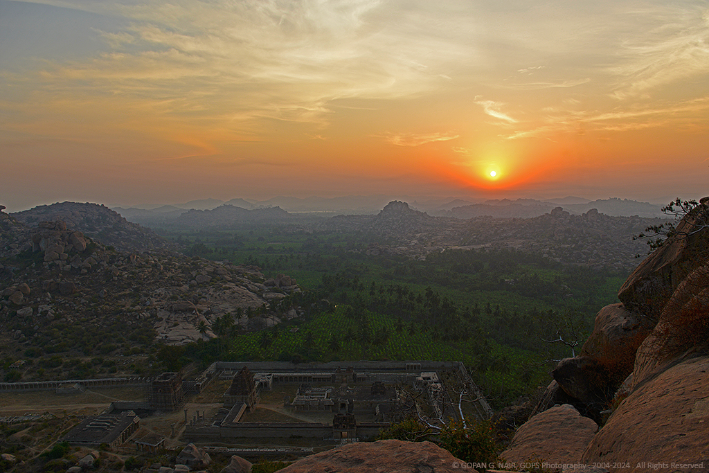 SPECTACULAR SUN RISE SCENE FROM MATHANGA PEAK WIT ACHYUTHARAYA TEMPLE AT THE BOTTOM
