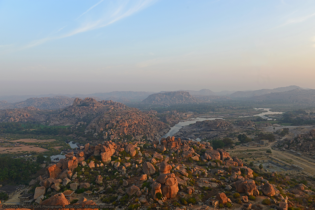 AERIAL VIEW OF TUNGABHADRA RIVER & HAMPI VILLAGE FROM MATHANGA HILL