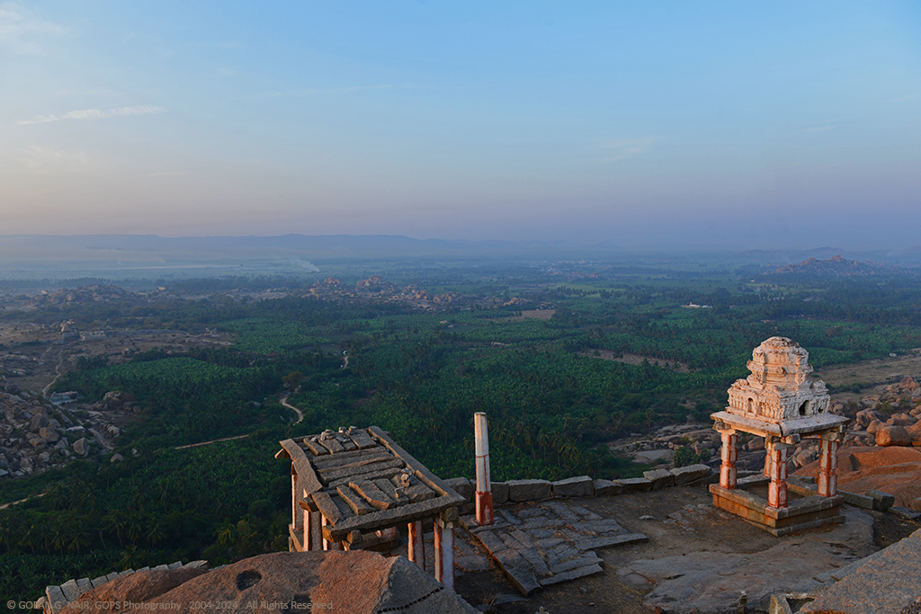 BEAUTIFUL VIEW OF HAMPI AND ITS GREEN SURROUNDINGS. AS SEEN FROM THE TOP OF MATHANGA HILL