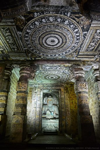 ANOTHER VIEW OF THE WALL/CEILING MURALS AT CAVE-2, AJANTA CAVES
