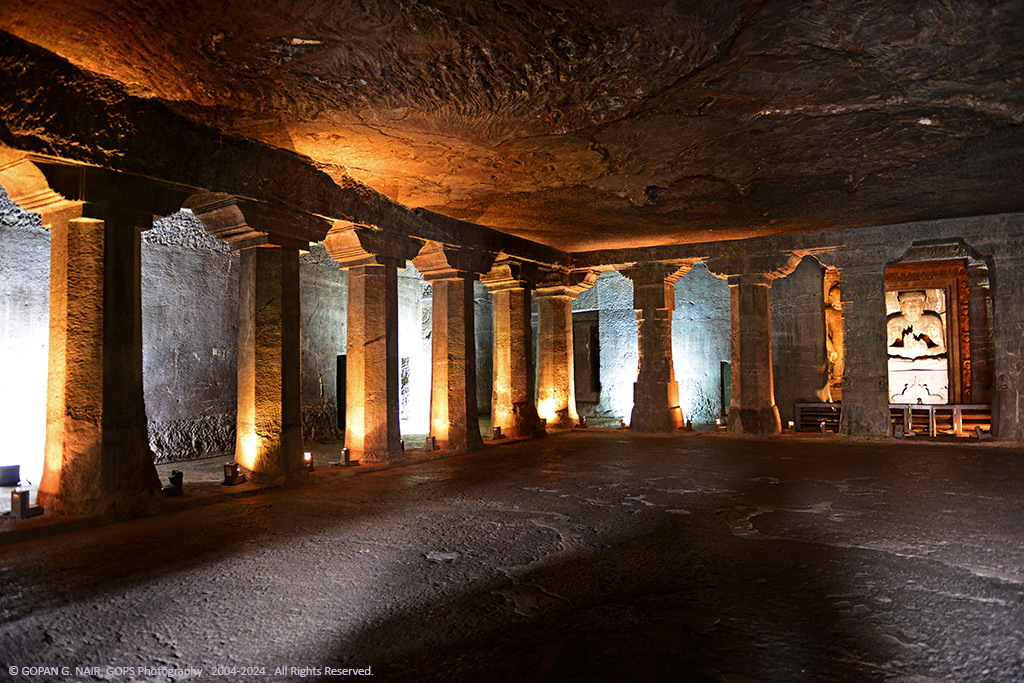INSIDE CAVE-4, LARGEST BUDDHIST VIHARA AT AJANTA CAVES