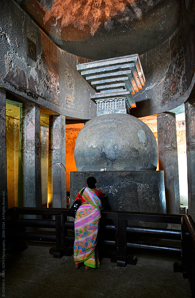 CAVE-9, AN EARLY CHAITYA HALL WITH OCTAGONAL PILLARS AND STUPA, AJANTA CAVES
