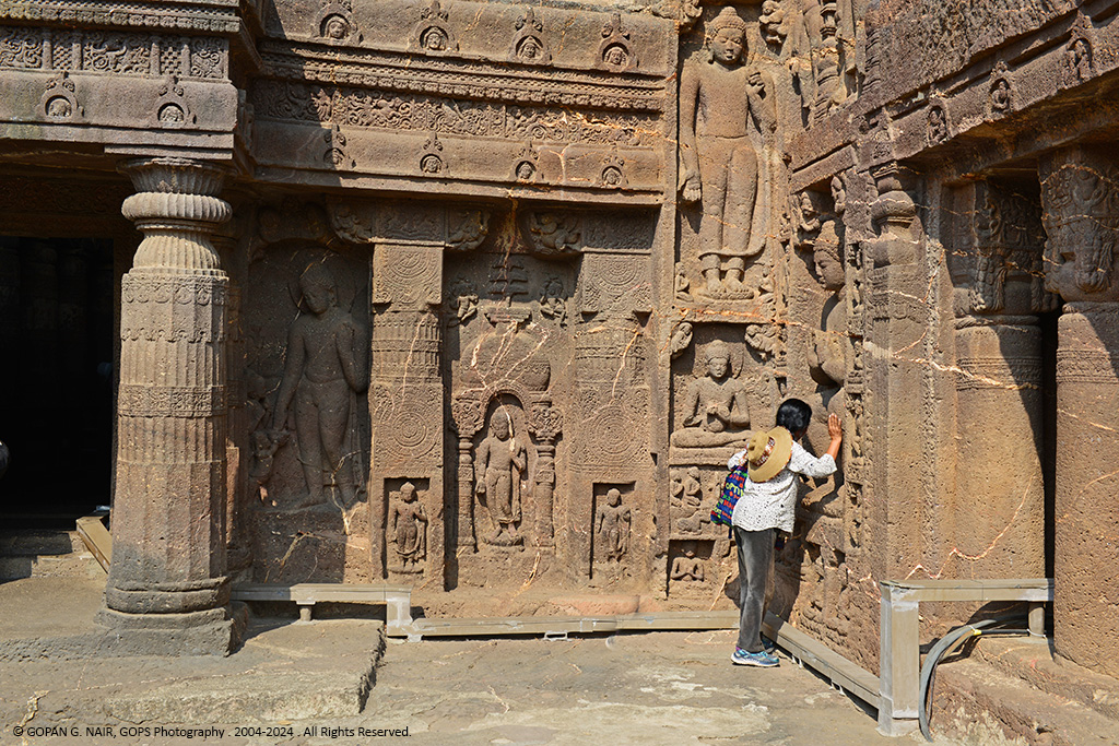 MOMENTS OF DEVOTION. IN FRONT OF CAVE-19, AJANTA CAVES