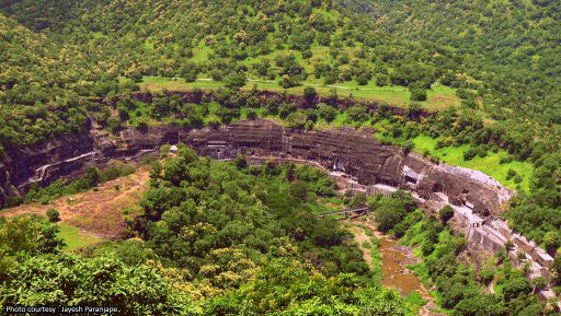 BIRDS-EYE VIEW OF AJANTA CAVES, PHOTO COURTESY: WIKIMEDIA COMMONS