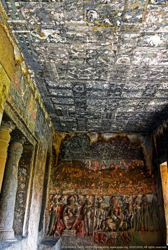 PART OF A CAVE WITH HIGHLY DETERIORATED MURALS AND SCULPTURES. AJANTA CAVES