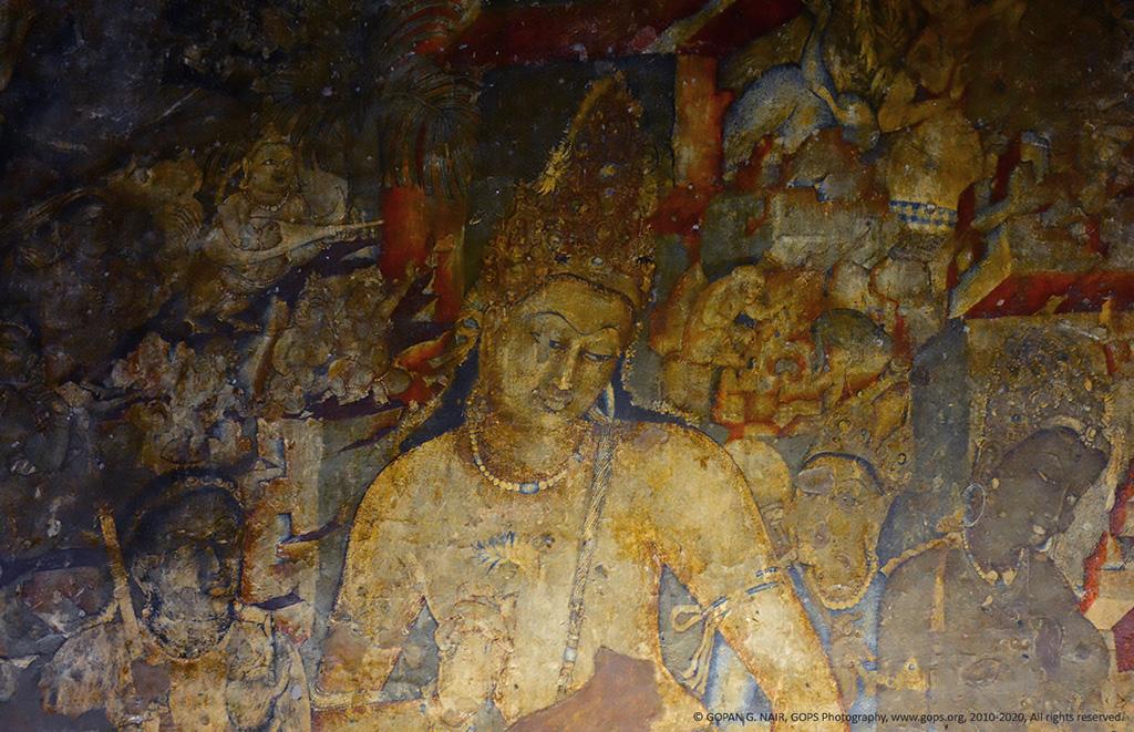 CLOSE-UP OF BODHISATTVA PADMAPANI, MURAL IN AJANTA CAVES