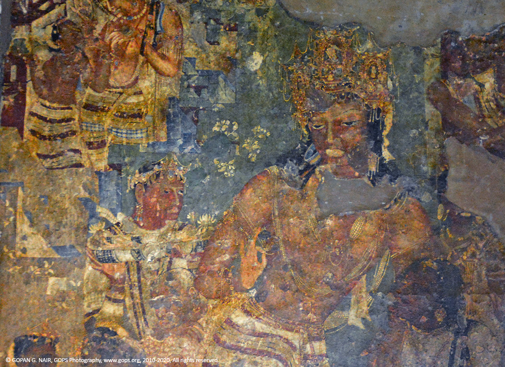 CLOSE-UP OF BODHISATTVA VAJRAPANI, MURAL IN AJANTA CAVES