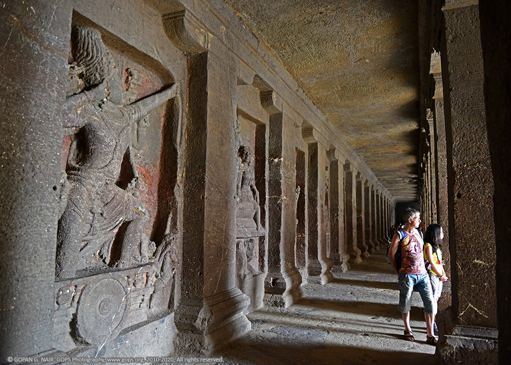 LONG CORRIDORS OF KAILASA TEMPLE FILLED WITH RELIGIOUS MOTIFS & FIGURES