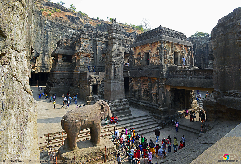 AN OVERALL VIEW OF KAILASA TEMPLE FROM THE LEFT (NORTHERN) CORNER