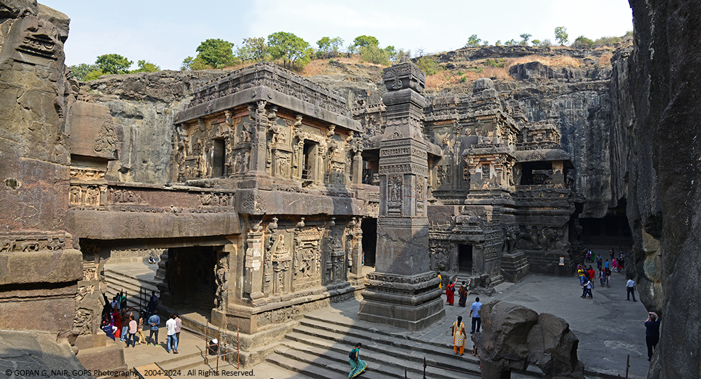 AN OVERALL VIEW OF KAILASA TEMPLE FROM THE RIGHT (SOUTHERN) CORNER