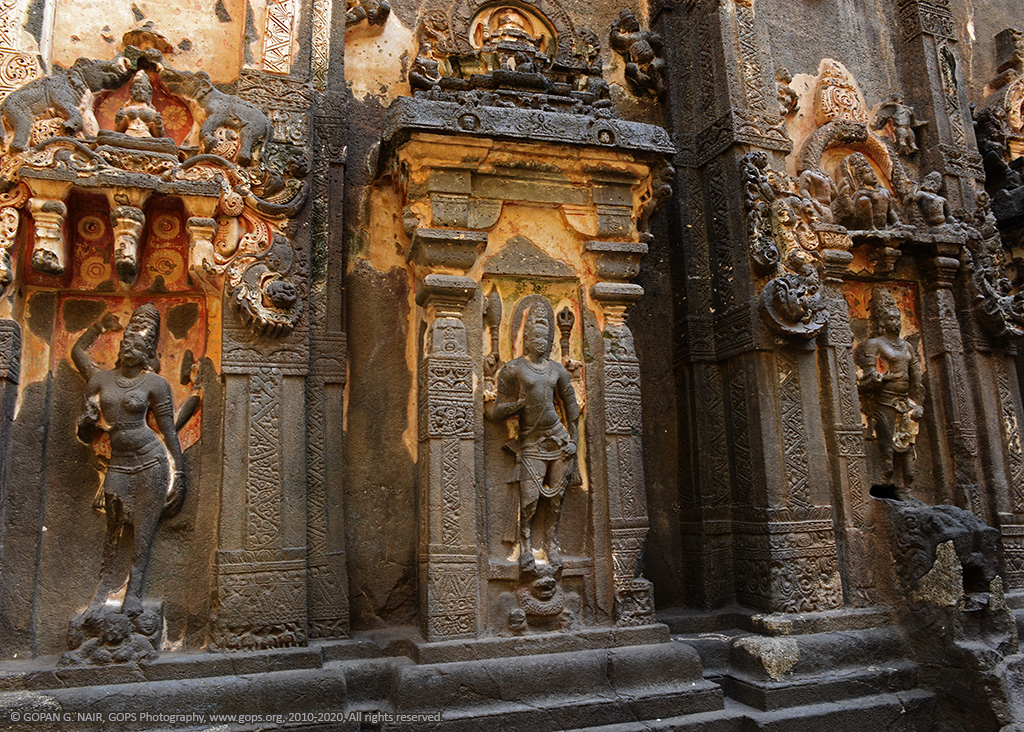 SIDE WALLS OF KAILASA TEMPLE DECORATED WITH EXQUISITE CARVINGS AND MURALS