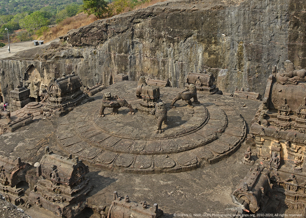 CARVINGS OF FOUR LIONS ON TOP OF KAILASA TEMPLE, ELLORA